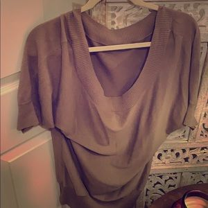 Off the shoulder sweater in tan!